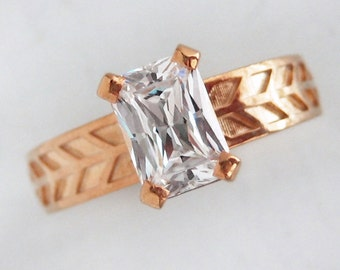 Emerald Cut Moissanite Engagement Ring | Ethical Solitaire | 7x5mm Forever Brilliant Moissanite 14k Rose Gold Ring