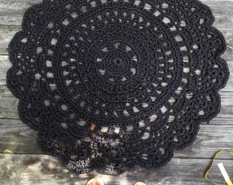 "Black Patio Porch Cord Crochet Rug 40""/1.016m/101.6cm"