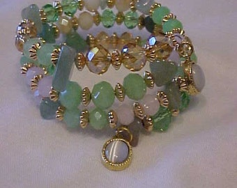 GLASS BEAD Wrap BRACELET~~lovely Mix of Greens and Pinks in the Glass Beads~Accented with Gold-Tone Findings~Pretty Little Charm at Each End