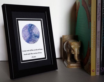 Made-to-order Spiritual Art Housewarming Gift Boho Decor Zen Mandala Centering 5x7 Framed Rumi Inspirational Love Quote