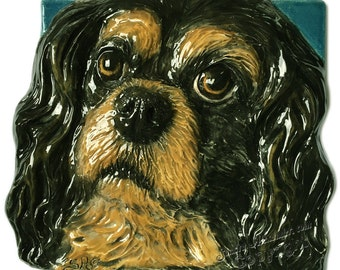 Cavalier King Charles Spaniel CERAMIC Portrait Sculpture 3D Dog Tile Plaque FUNCTIONAL ART by Sondra Alexander Christmas gifts Made to Order