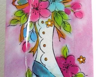 PLAYING CARDS - Vintage Unopened -  Sealed Deck - Pink Floral - Vintage Ladies - Altered Art - Supplies - NOS
