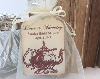 Tea Party Favor bags Organza Bags and Teapot Tags Personalized Bridal Shower