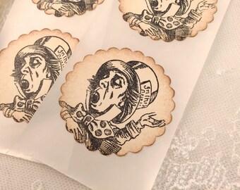 Mad Hatter Stickers Envelope Seals