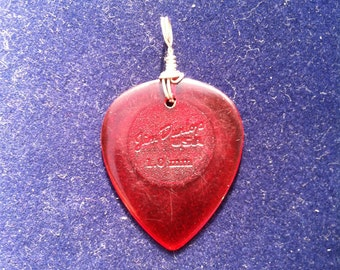 Sterling Silver Wire Wrapped Red Guitar Pick Necklace