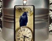 60% OFF CLEARANCE Halloween Black Cawing Raven Bamboo Tile Pendant (MIN122)
