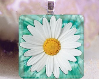 60% OFF CLEARANCE Glass tile pendant - Pretty Daisy