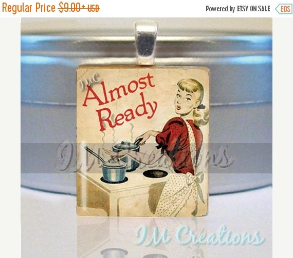 60% OFF CLEARANCE Scrabble tile pendant - Vintage Almost Ready Cooking (FD134)