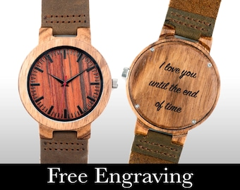 Engraved Watch, Wood Watch, Engraved Wood Watch, Wooden Watch, Red/Orange Face, Personalized Gift, Christmas, Gifts For Him