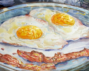 Eggs With Bacon Original Watercolor Painting Still Life Yellow Blue Kitchen Diner Art Decor