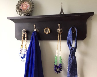 Black distressed Coat Rack Shelf