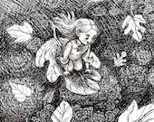 Digital art print childrens wall decor fantasy woodland  leaf glider black and white nursery adult  rustic
