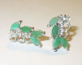 Genuine Emerald  Earrings with White Topaz Accents - Beautiful Natural Gemstones in Sterling Silver
