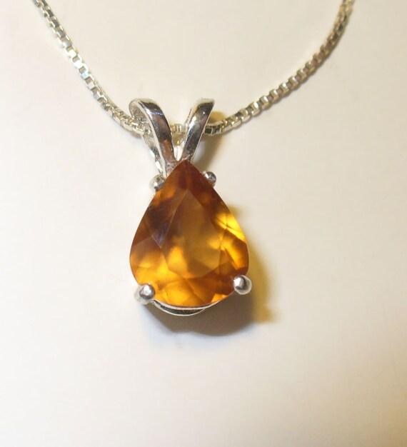 hessonite garnet pendant genuine gemstone in solid