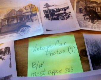 Vintage Photos  Nine b/w  cars 1920's thru 1950's  3X5