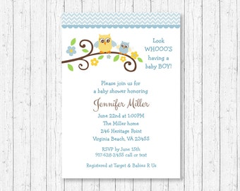 Cute Owl Baby Shower Invitation / Owl Baby Shower Invite / Woodland Owl / Blue & Yellow / Baby Boy Shower / PRINTABLE A120