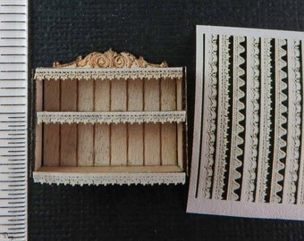 "KIT Laser Cut French Country Shelf and Trims KIt laser cut cotton lace 1:48 1/4"" dollhouse  LQ066, LC031"