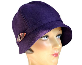 Cloche Hat in Vintage Wool with Art Deco Buckle