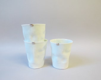 porcelain tumbler with silver accent