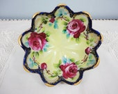 Antique Berry Bowl - Hand Painted Roses with Cobalt Blue Trim, Gilt - 3 Footed - 3 Cup
