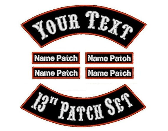 6 Piece Custom Embroidered Biker Patches by SmoothStitchesDesign