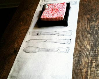 Hand painted Cutlery Table Runner