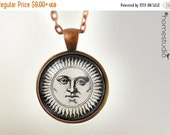 ON SALE Classic Sun : Glass Dome Necklace, Pendant or Keychain Key Ring. Gift Present metal round art photo jewelry HomeStudio. Silver Coppe