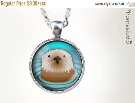ON SALE Sea Otter : Glass Dome Necklace, Pendant or Keychain Key Ring. Gift Present metal round art photo jewelry HomeStudio. Silver Bronze