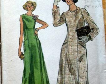 1960s Vintage Vogue Womens Evening Dress Pattern With Scoop Neckline Street Or Long Length Vogue 9379 Sz 14 Uncut