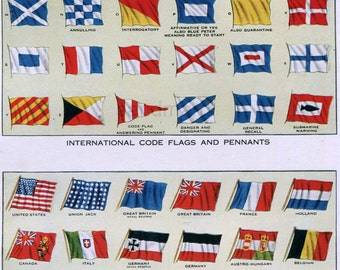 1917 Nautical Ensigns and National Merchant Flags Marine International Code Flags and Pennants Chart