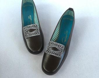 Size 7 - Vintage Mod Brown Vinyl Loafers - Fancy Silver Buckle - Sturdy Flat Heel - Pappagallo
