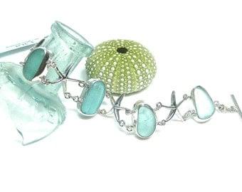 Sea Glass & Starfish Bracelet | Sterling Silver Sea Glass Bracelet | Sea Glass Bracelet | Seaglass Bracelet | Beach Glass | Starfish Jewelry