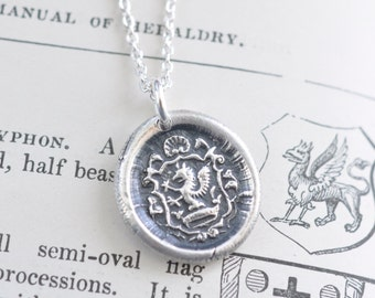 griffin wax seal necklace - gryphon pendant - vigilance, courage, strength - fine silver medieval wax seal jewelry