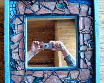 Mosaic Up cycled Recycled Mirror.  Rustic. Rough. Ready to hang.