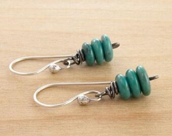 Turquoise Gemstone Earrings, December Birthstone Jewelry, Dangle Earrings, Sterling Silver, Minimalist, Rustic #4322