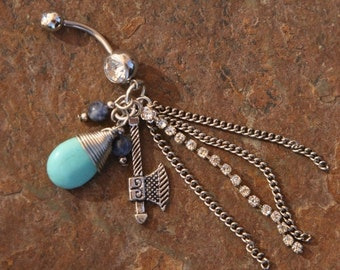 BACK 2 SCHOOL SALE Turquoise Western Cowgirl DeSIGNeR Belly Button Ring A Little Blingy Rodeo Rhinestone Cowboys Desire