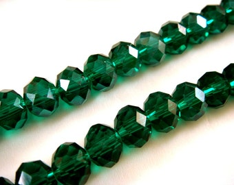 36 Dark Green Luster Electroplated Glass Rondelle Beads 8x6mm Transparent Emerald  - 36 pc - G6051-DKG36
