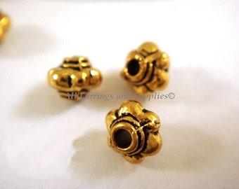 50 Gold Spacer Bead Flower Antique Tibetan 5x4mm - 50 pc - M7003-AG5x4mm50