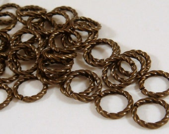 50 Gold Twisted Jump Ring 10mm Antique Gold Plated Brass Fancy 16 gauge 10mm Outside - 50 pc - 3496