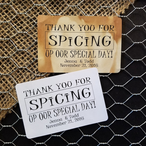 "Thank You for Spicing up our Special Day 2"" x 3""  STICKER Personalized Wedding Shower Favor STICKER choose your amount"