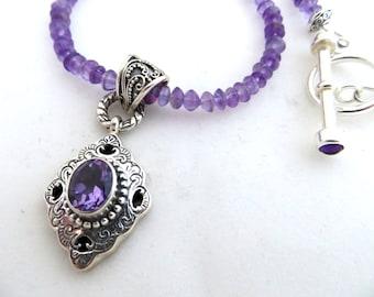 Mystic Quartz Pendant & Amethyst Gemstone Necklace, Bali Silver Pendant