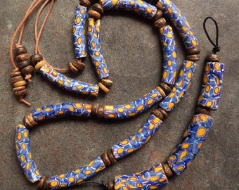Rare Slender Curved Venetian Millefiori Beads from the African Trade