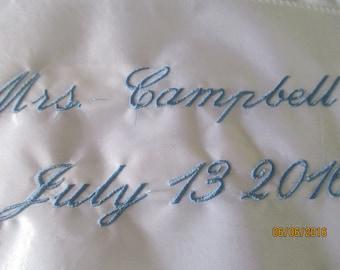 Something Blue    Wedding Gown Monogram     Mrs. Monogram  Label  Wedding Announcement