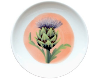Porcelain dish with illustration of the Artichoke flower - made to order
