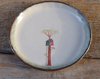 Rustic Oval Ceramic Plate with Treehouse
