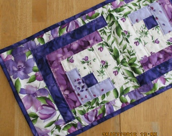 Rail Fence table runner - purples and greens