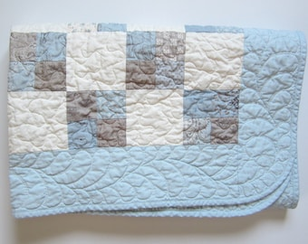 "Baby Boy Quilt, French Country Decor, 37""x37"", Patchwork Quilted Baby Blanket, Fleur De Lis"