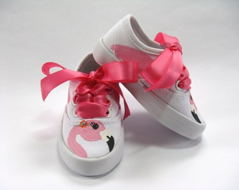 Pink Flamingo Shoes, Hand Painted Bird Sneakers, Flamingo Birthday Party Theme Outfit, White Cotton Canvas For Baby and Toddlers