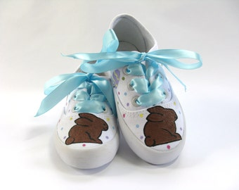 Easter Rabbit Shoes, Bunny Sneakers with Easter Eggs, Hand Painted for Baby or Toddler