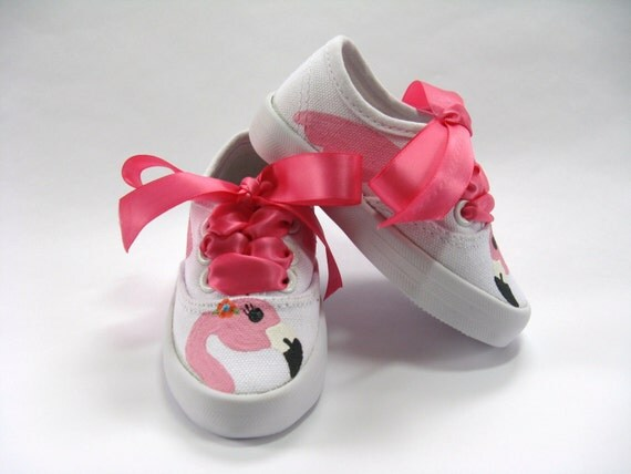 Pink Flamingo Shoes, Hand Painted Bird Sneakers, Flamingo Outfit, Flamingo Birthday Theme, White Cotton Canvas For Baby and Toddlers